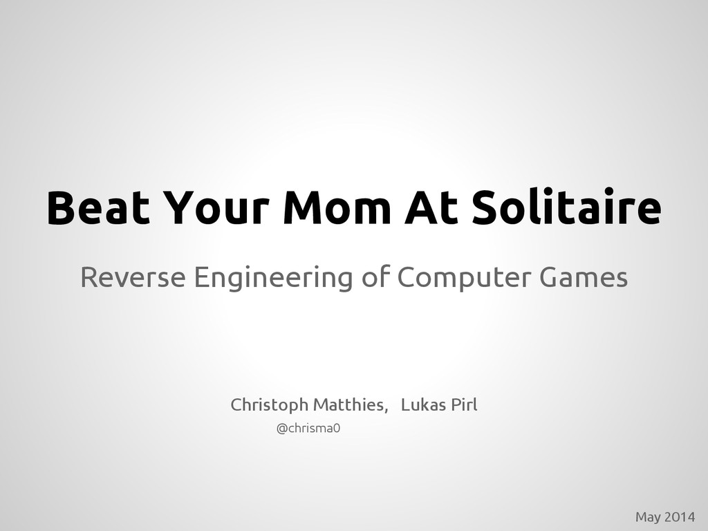 Beat Your Mom At Solitaire Reverse Engineering ...