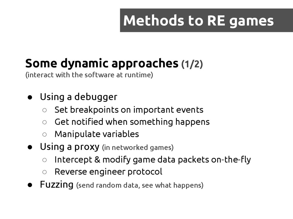 Methods to RE games Some dynamic approaches (1/...