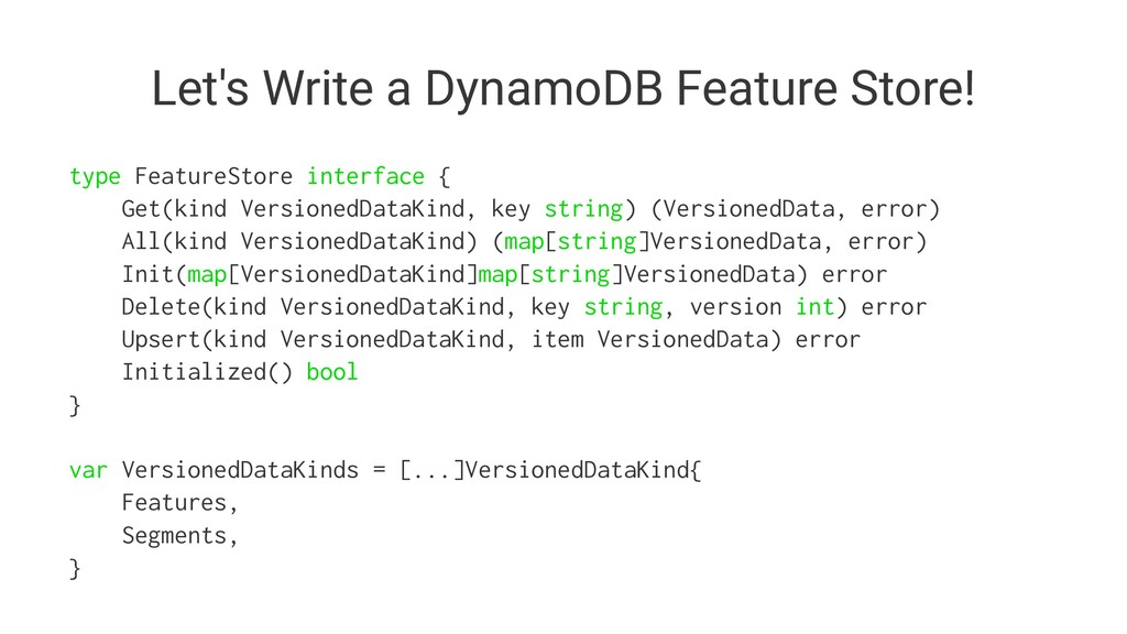 Let's Write a DynamoDB Feature Store! type Feat...