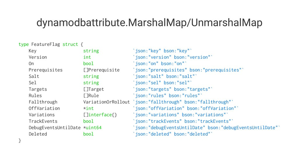 dynamodbattribute.MarshalMap/UnmarshalMap type ...