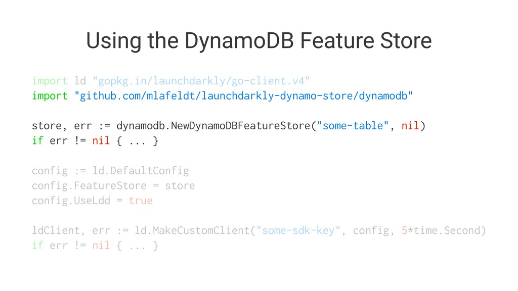 "Using the DynamoDB Feature Store import ld ""gop..."