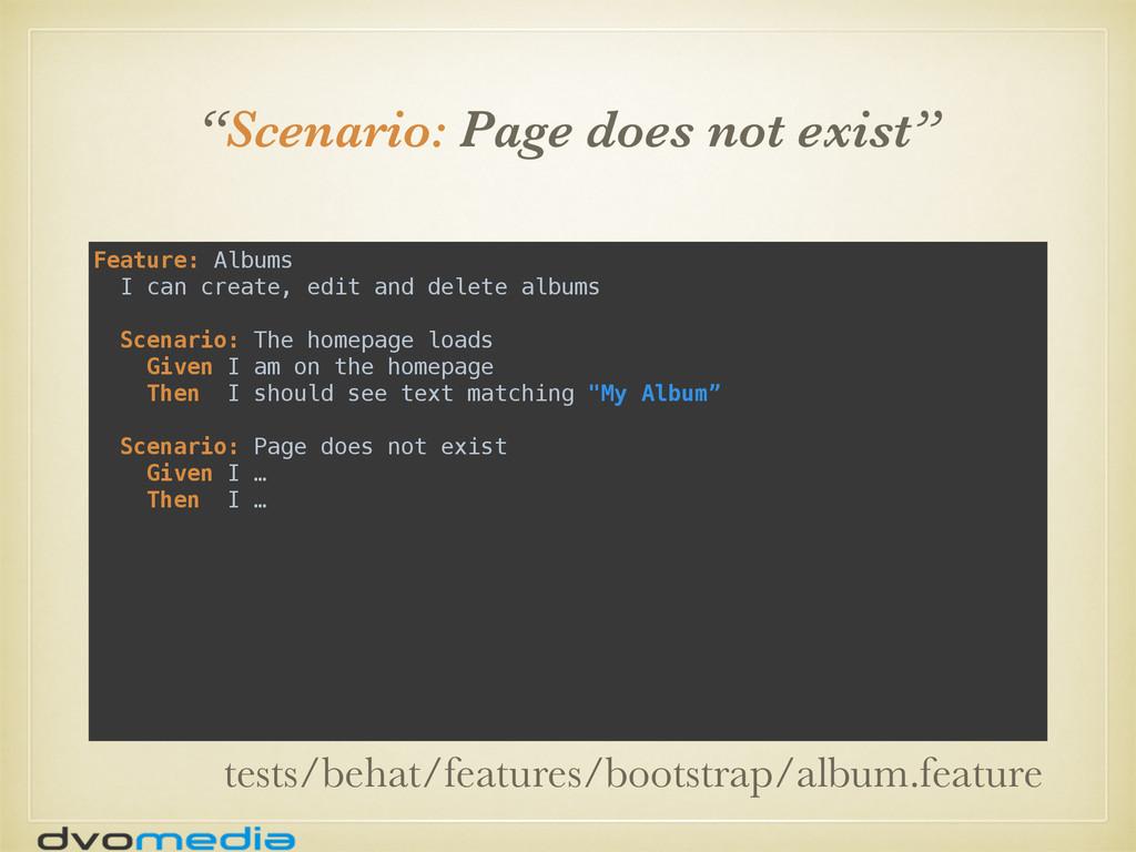 """Scenario: Page does not exist"" Feature: Albums..."