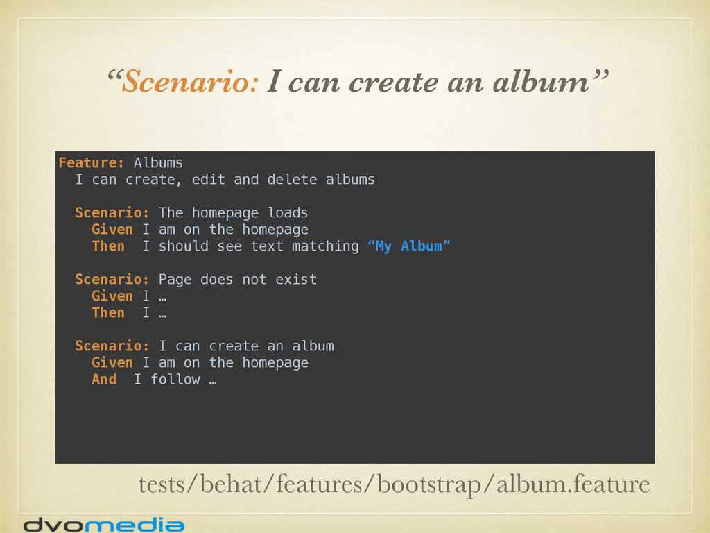 """Scenario: I can create an album"" Feature: Albu..."