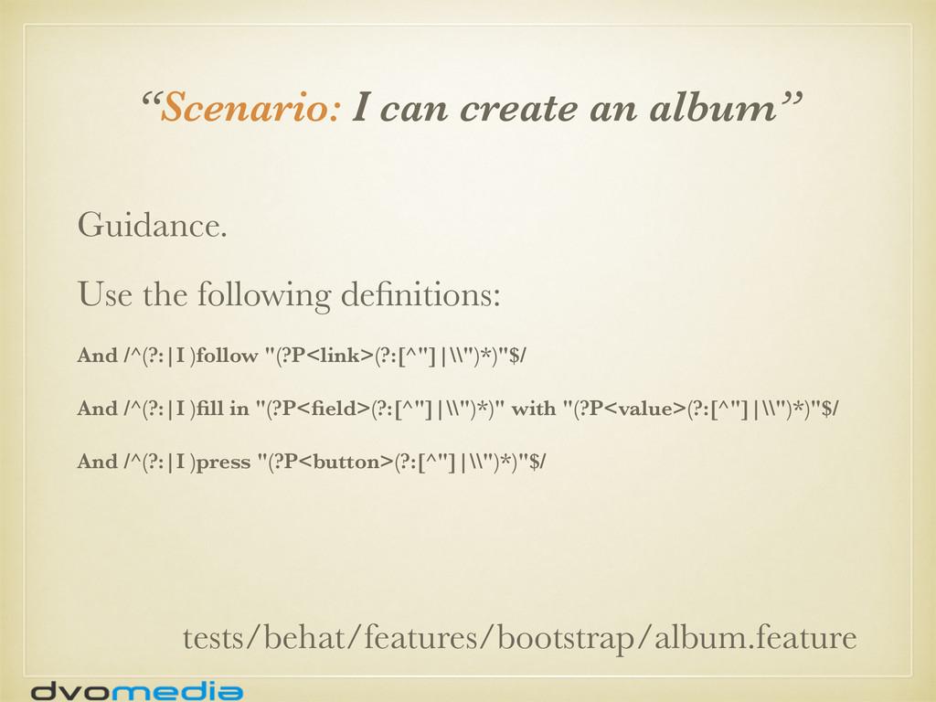"""Scenario: I can create an album"" tests/behat/f..."