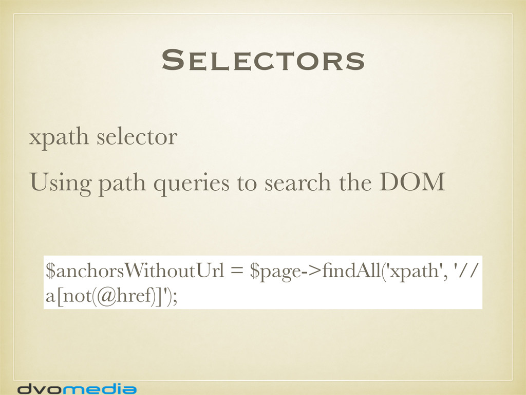 Selectors xpath selector Using path queries to ...