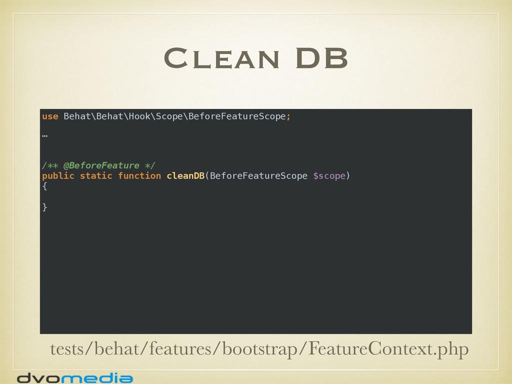 Clean DB use Behat\Behat\Hook\Scope\BeforeFeatu...