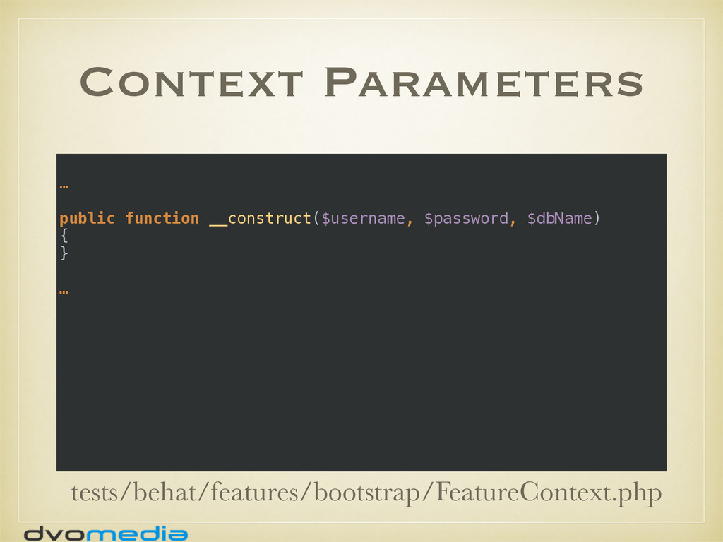 Context Parameters … public function __construc...