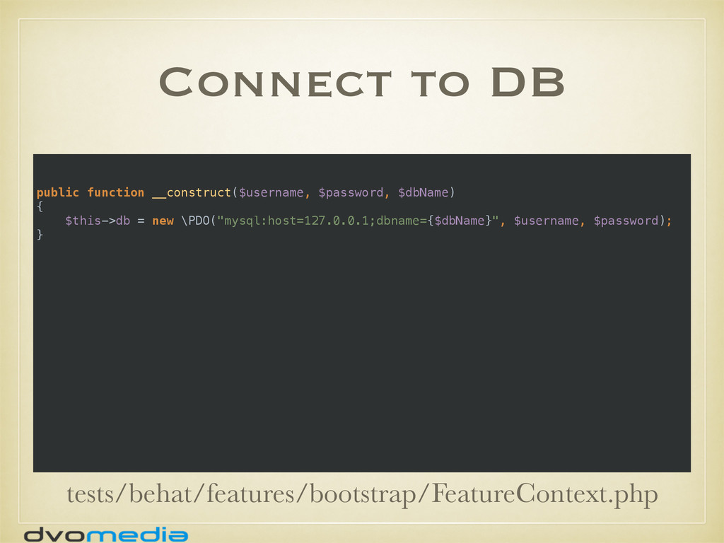 Connect to DB public function __construct($user...