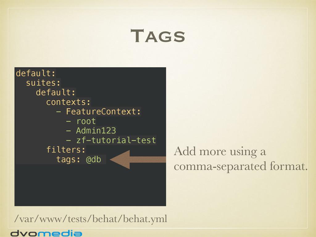 Tags default: suites: default: contexts: - ...