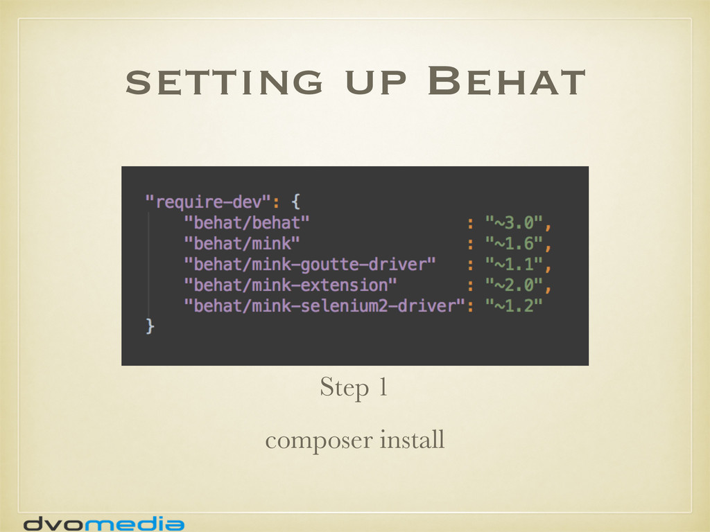 setting up Behat Step 1 composer install
