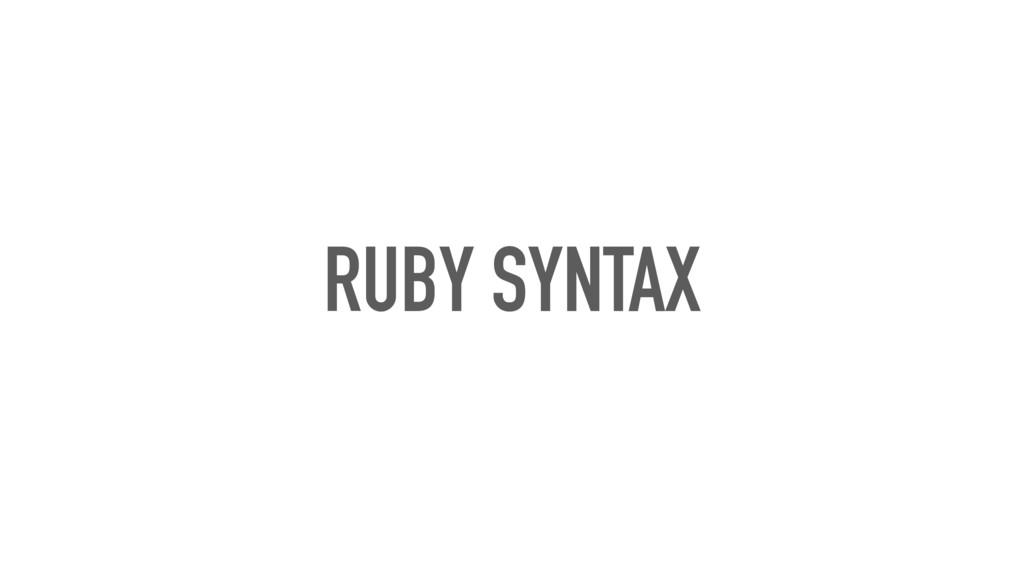 RUBY SYNTAX