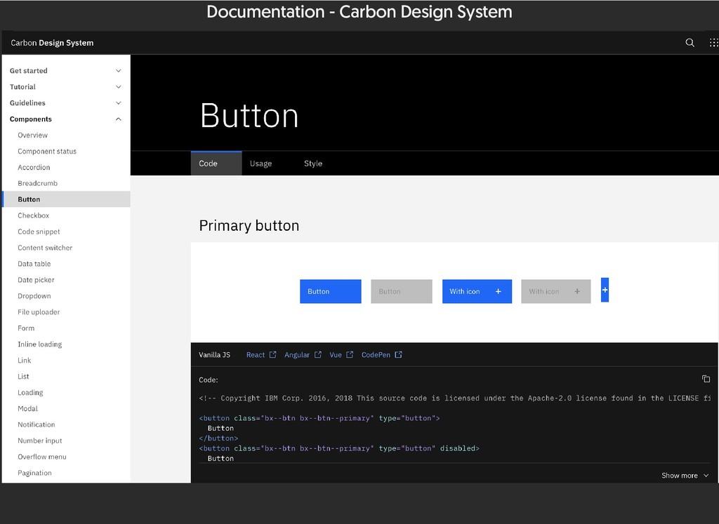 Documentation - Carbon Design System
