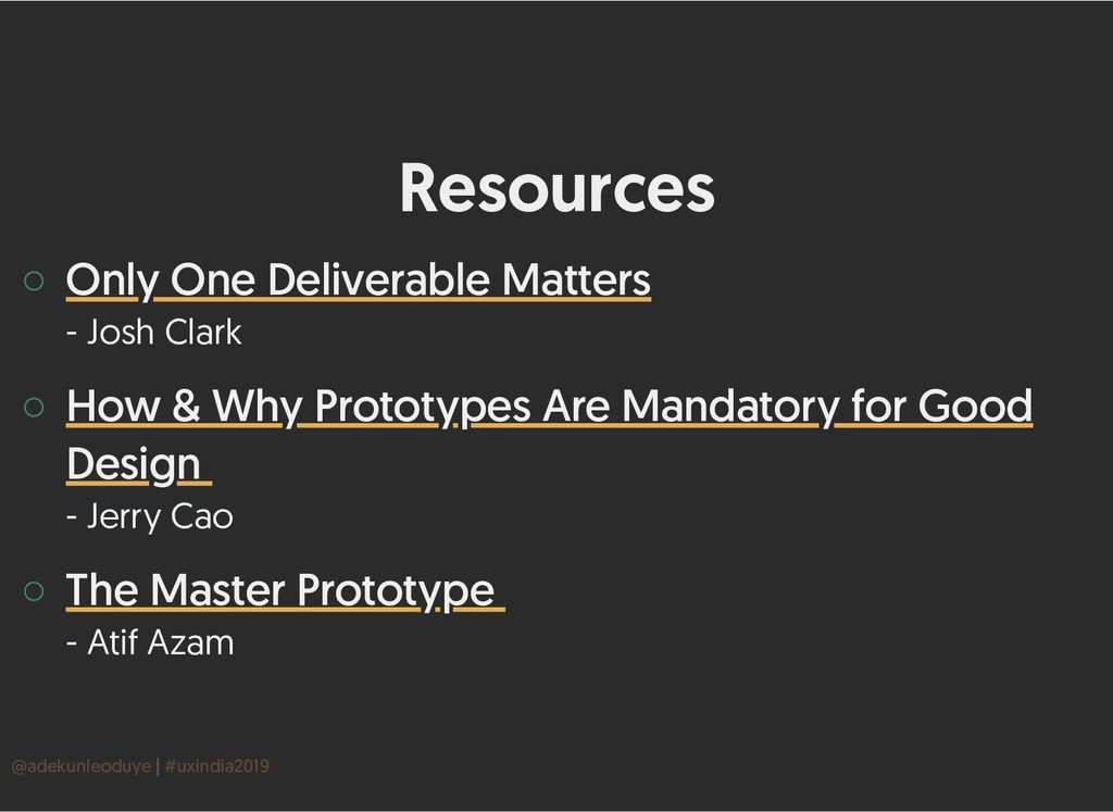 Resources Resources ◦ - Josh Clark ◦ - Jerry Ca...