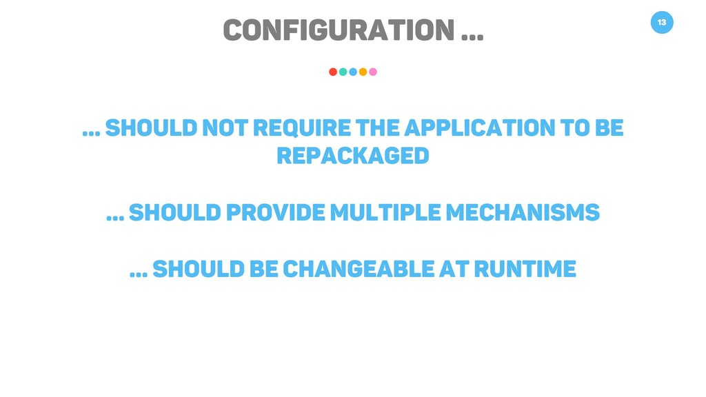 Configuration … 13 … Should not require the app...