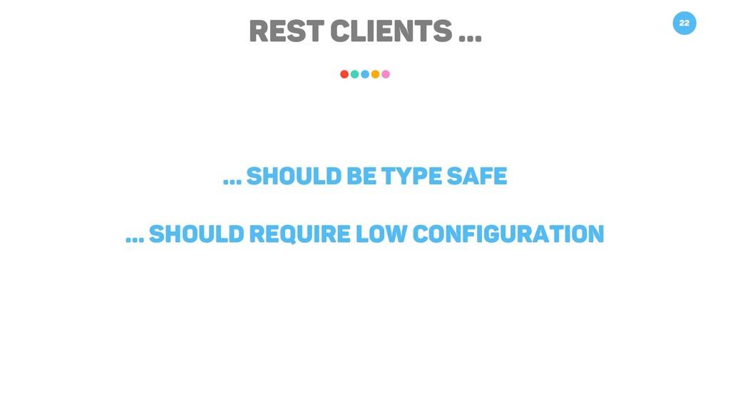 REST Clients … 22 … should be type safe … shoul...