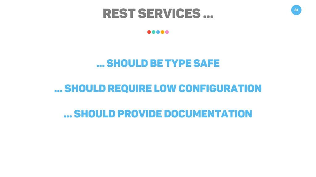 REST Services … 31 … should be type safe … shou...
