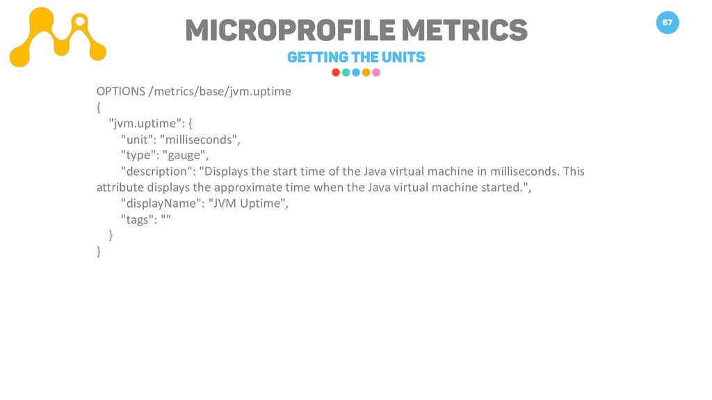 Microprofile METRICS Getting the units 67 OPTIO...