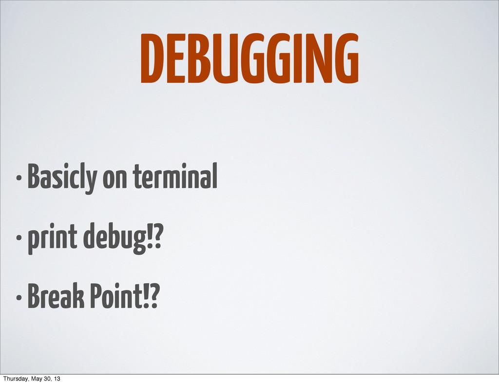 DEBUGGING • Basicly on terminal • print debug!?...
