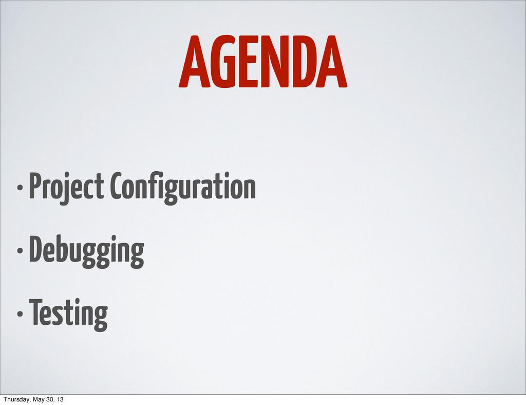 AGENDA • Project Configuration • Debugging • Te...