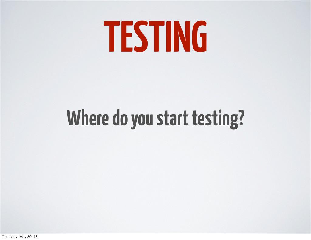 TESTING Where do you start testing? Thursday, M...