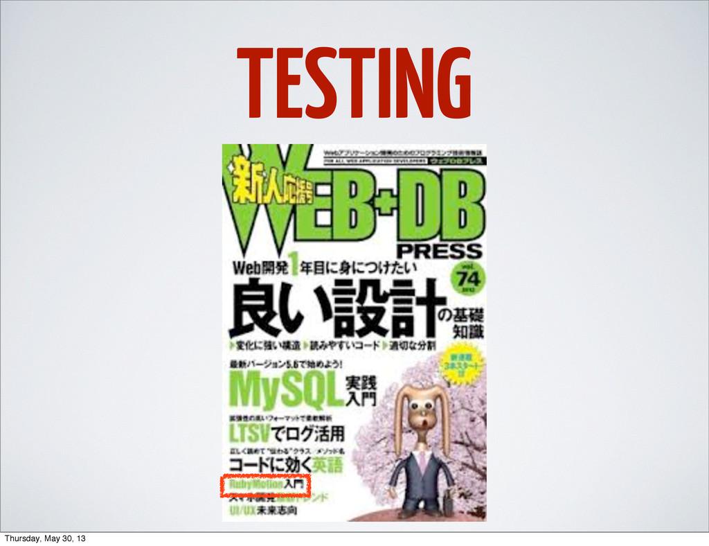 TESTING Thursday, May 30, 13