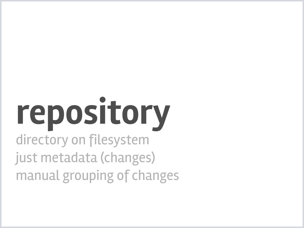 repository directory on filesystem just metadat...