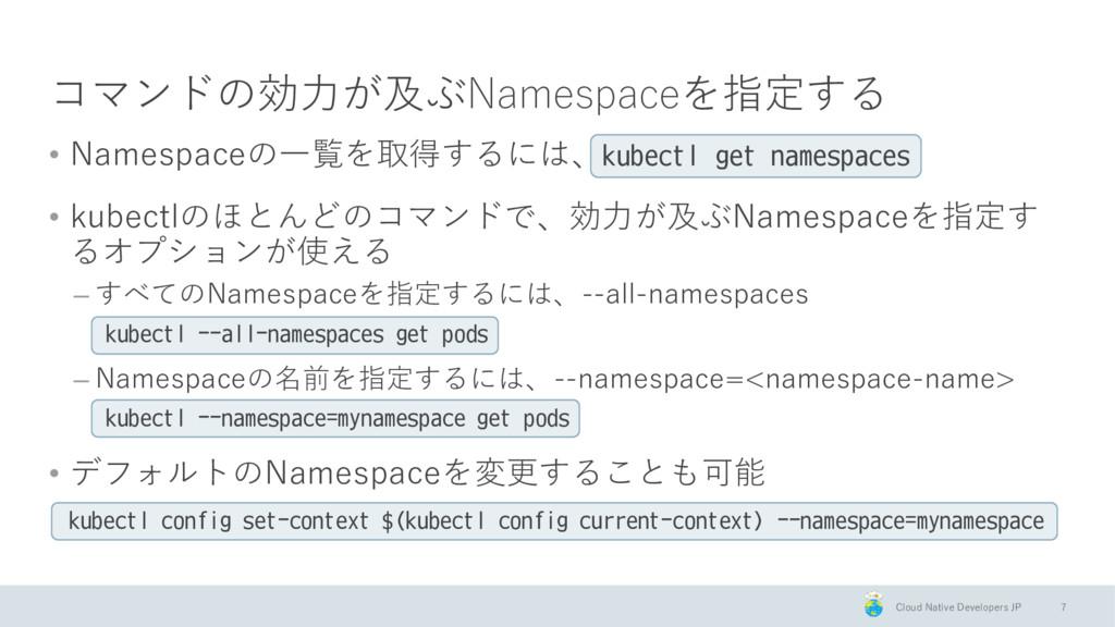 Cloud Native Developers JP コマンドの効力が及ぶNamespaceを...