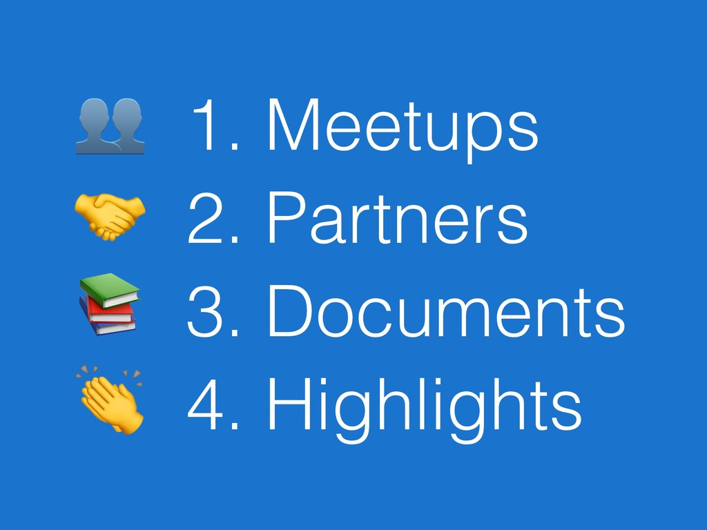 1. Meetups  2. Partners  3. Documents  4. High...