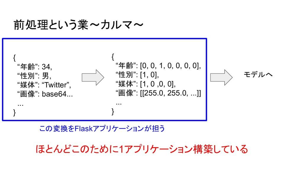 前処理という業〜カルマ〜 モデルへ この変換をFlaskアプリケーションが担う ほとんどこのた...