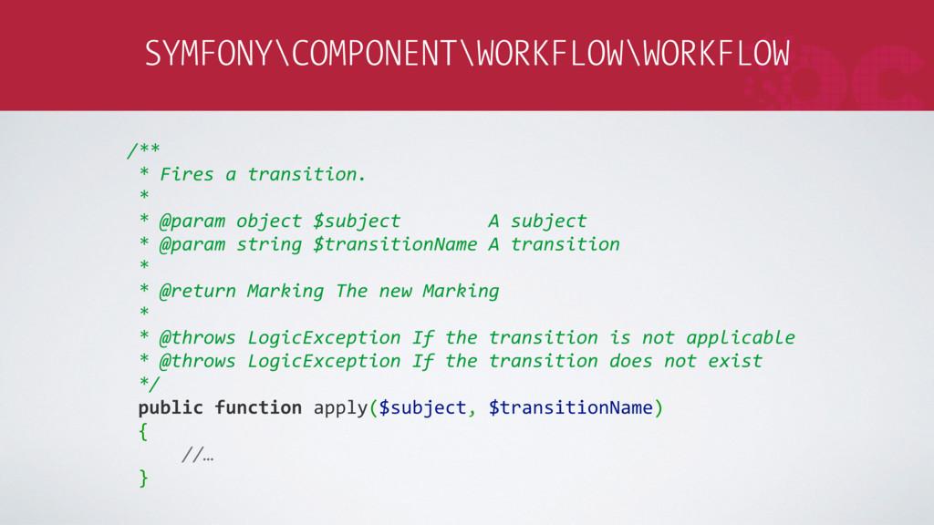 SYMFONY\COMPONENT\WORKFLOW\WORKFLOW /** * Fires...