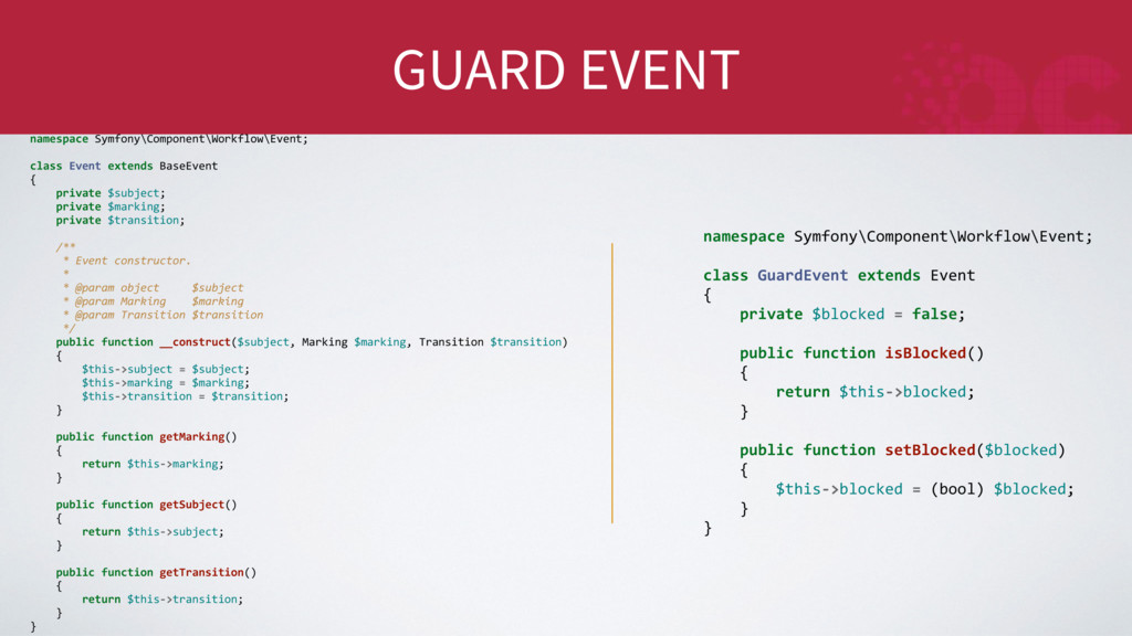 GUARD EVENT namespace Symfony\Component\Workflo...