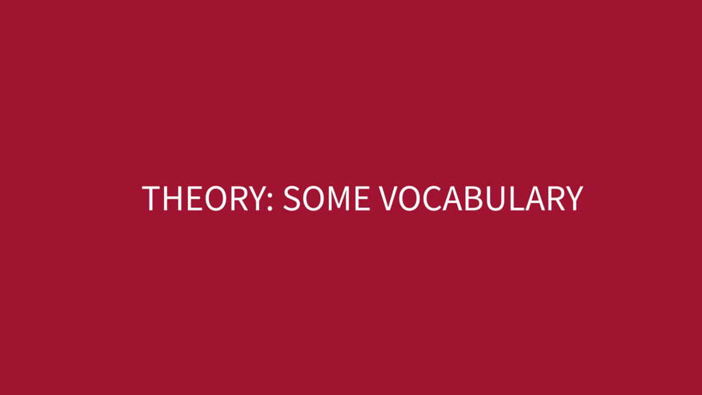 THEORY: SOME VOCABULARY