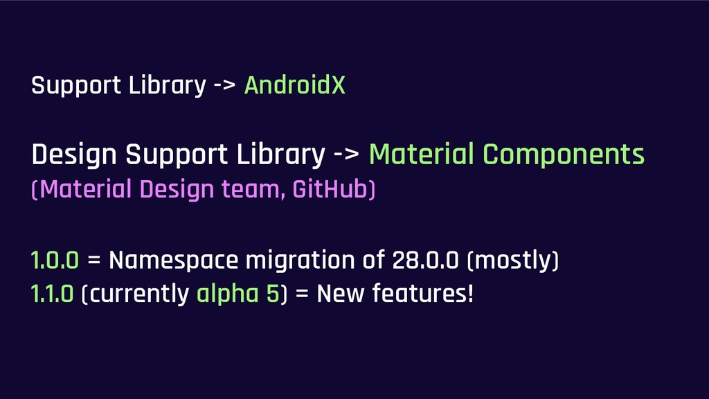 Support Library -> AndroidX Design Support Libr...