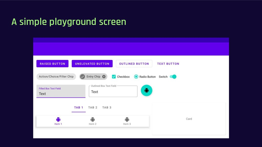 A simple playground screen