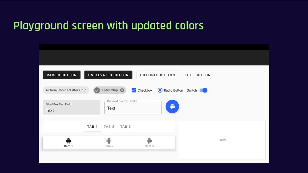 Playground screen with updated colors
