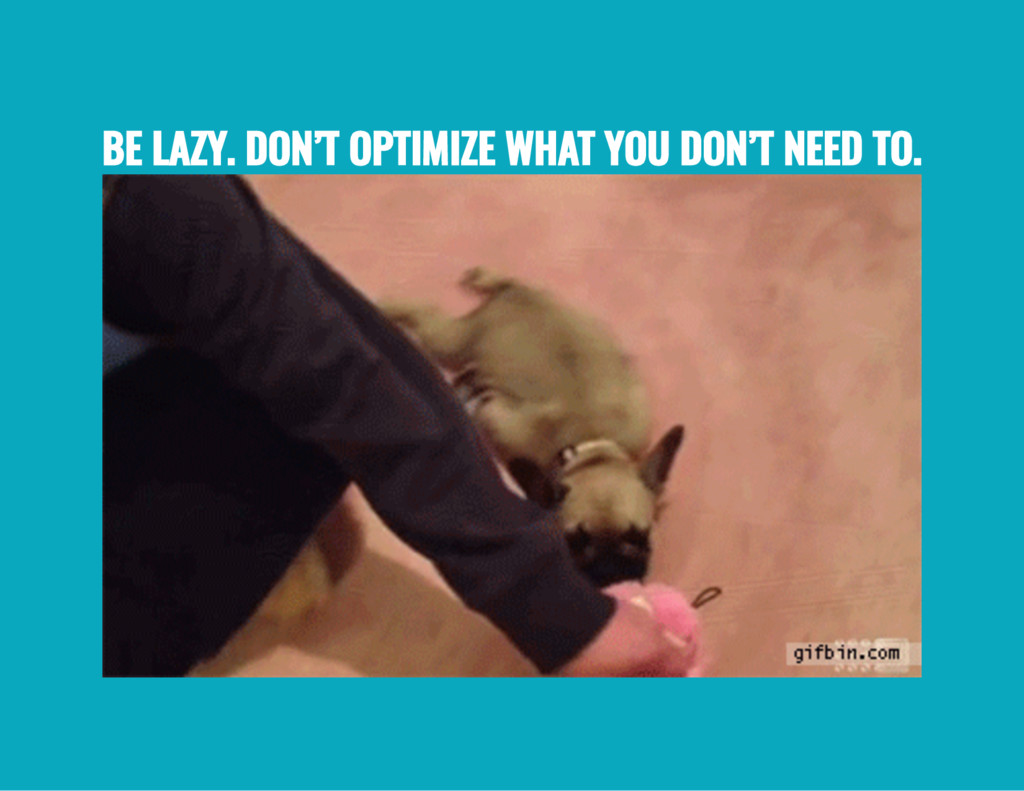 BE LAZY. DON'T OPTIMIZE WHAT YOU DON'T NEED TO.