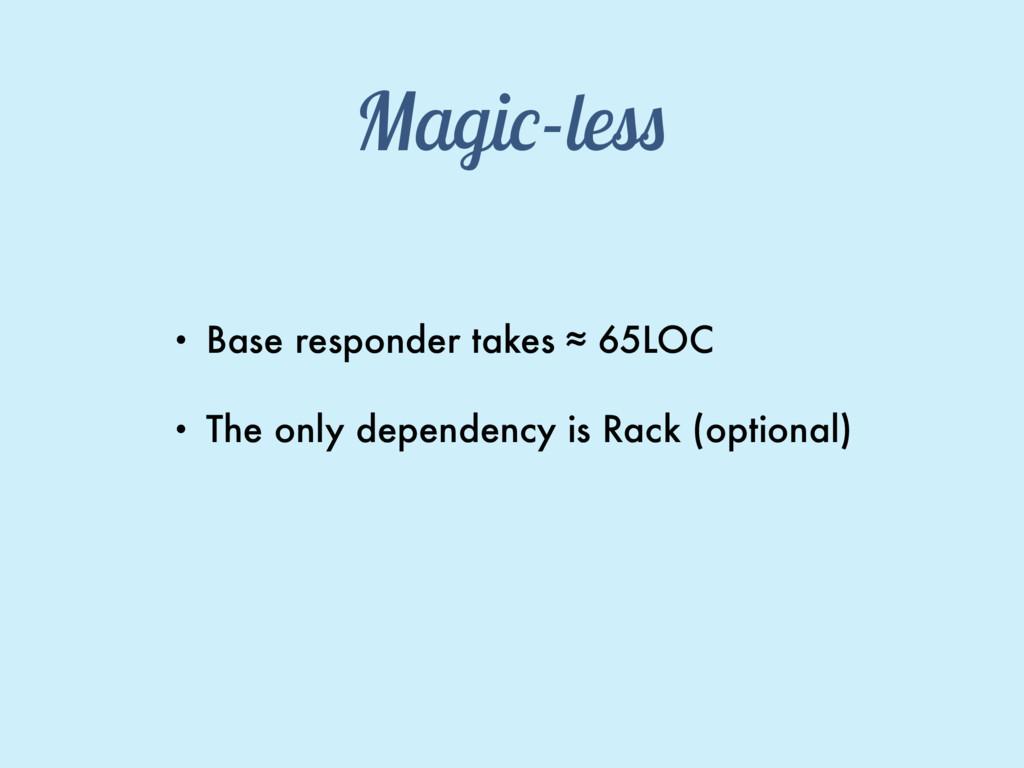 Magic-less • Base responder takes ≈ 65LOC • The...