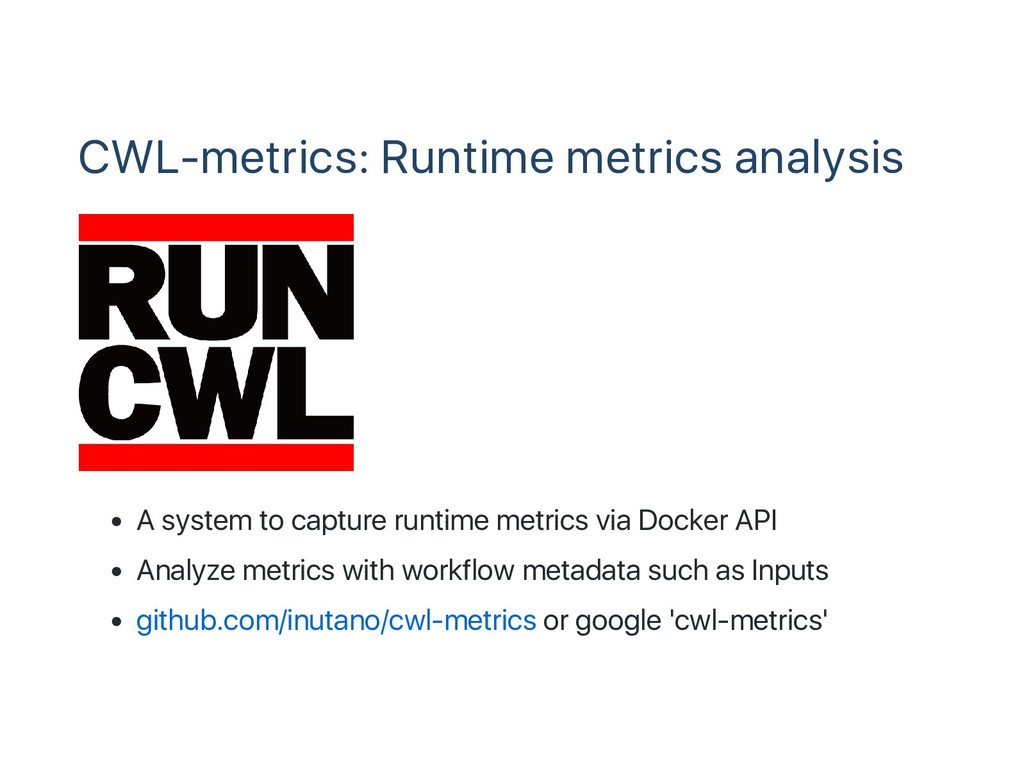 CWL‑metrics: Runtime metrics analysis A system ...