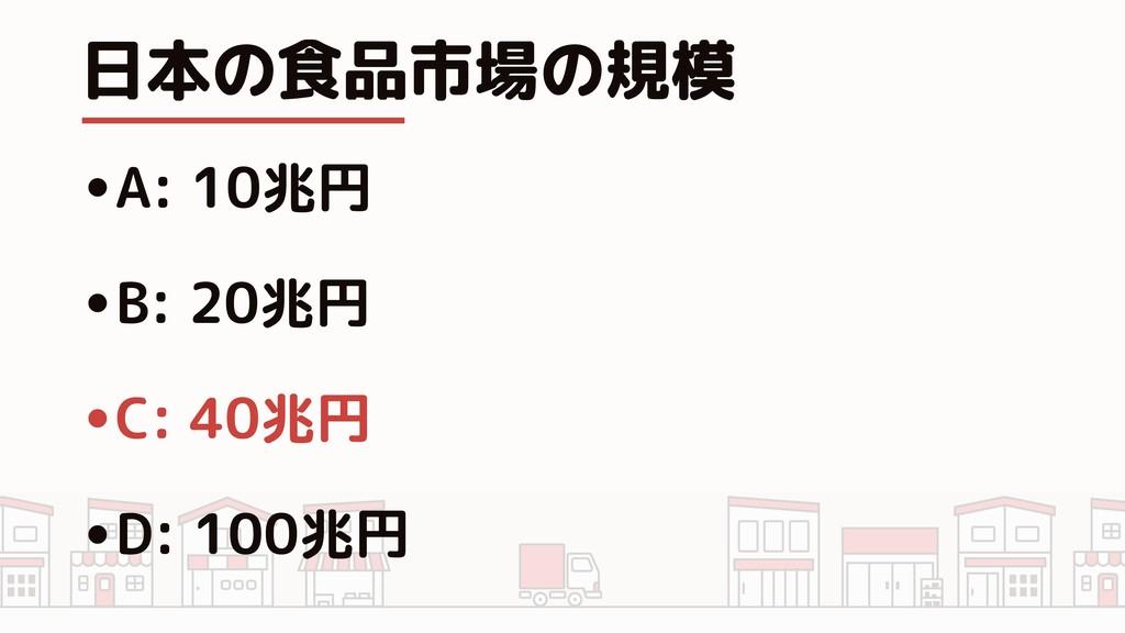 日本の食品市場の規模 •A: 10兆円 •B: 20兆円 •C: 40兆円 •D: 100兆円