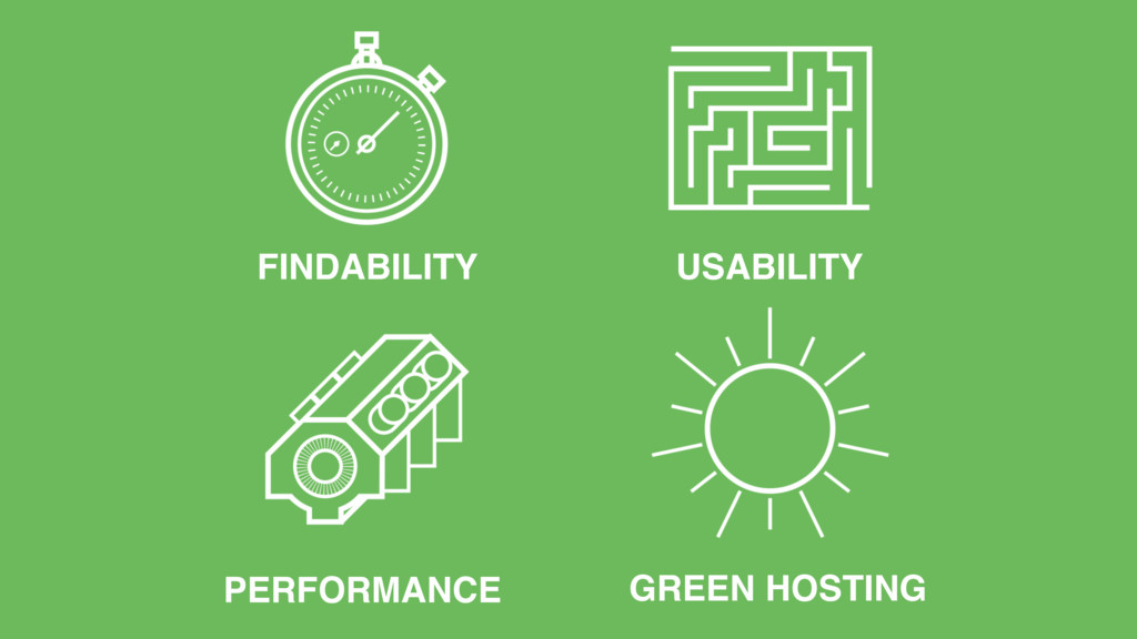 FINDABILITY USABILITY PERFORMANCE GREEN HOSTING