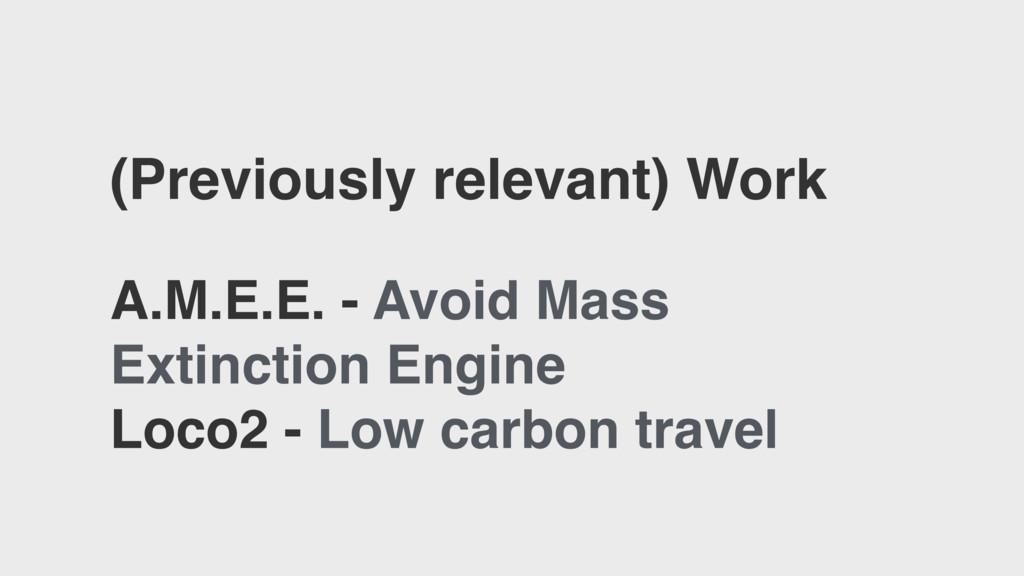 (Previously relevant) Work A.M.E.E. - Avoid Mas...