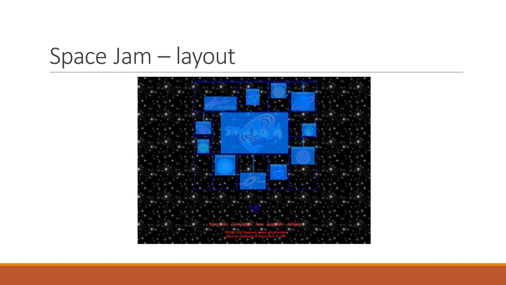 Space Jam – layout