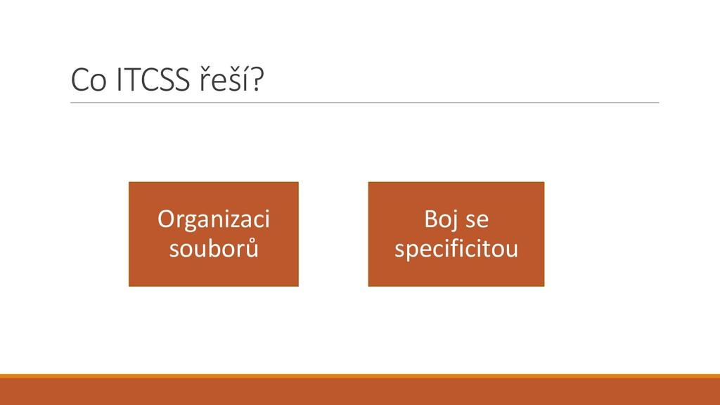 Co ITCSS řeší? Organizaci souborů Boj se specif...