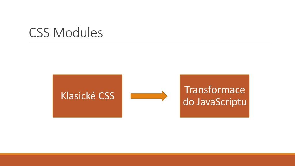 CSS Modules Klasické CSS Transformace do JavaSc...