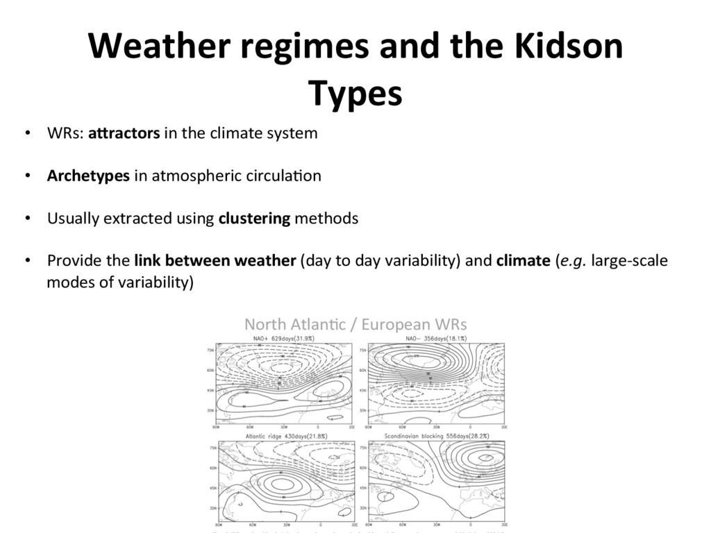 Weather regimes and the Kidson Types •  WRs: aY...