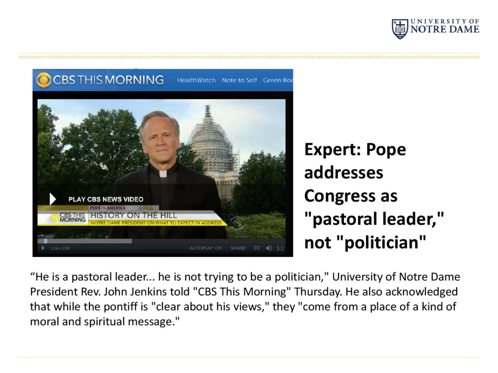 "Expert: Pope addresses Congress as ""pastoral le..."