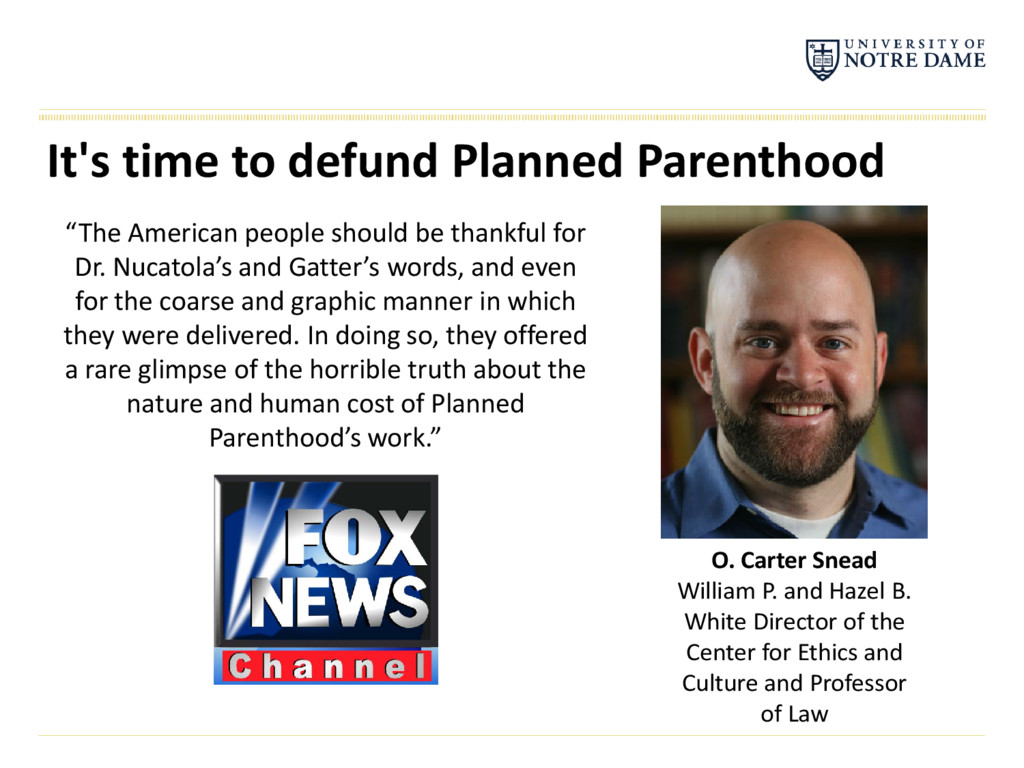 "It's time to defund Planned Parenthood ""The Ame..."