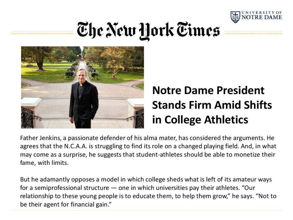 Notre Dame President Stands Firm Amid Shifts in...