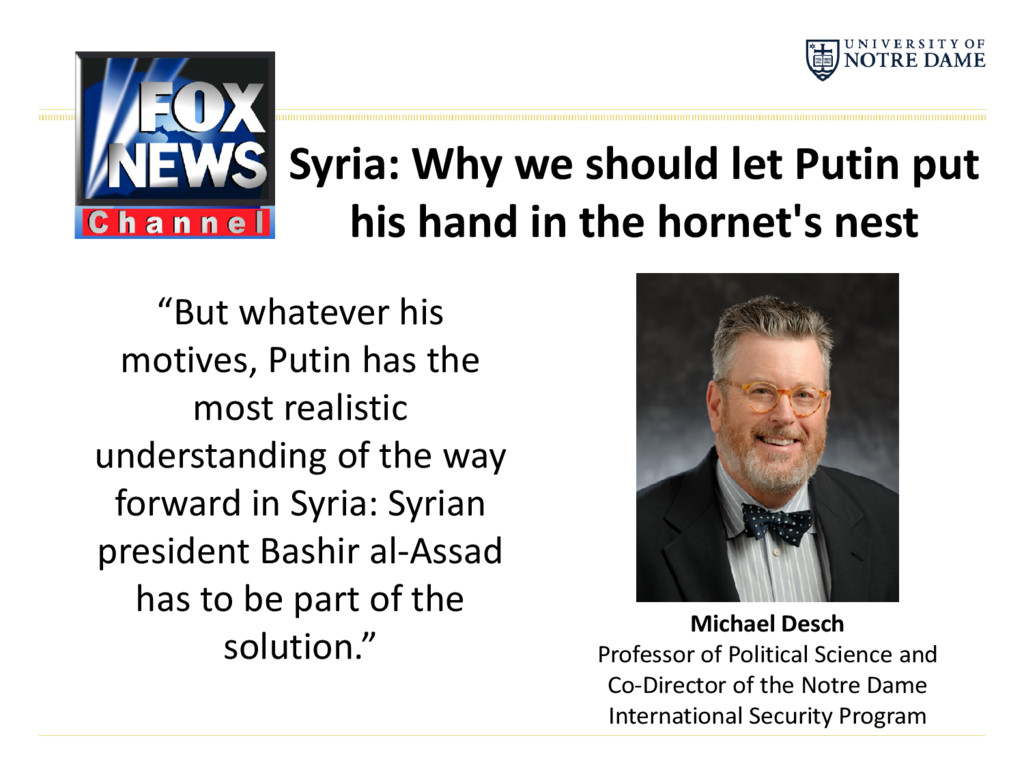 Syria: Why we should let Putin put his hand in ...