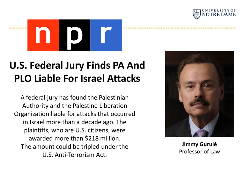 U.S. Federal Jury Finds PA And PLO Liable For I...